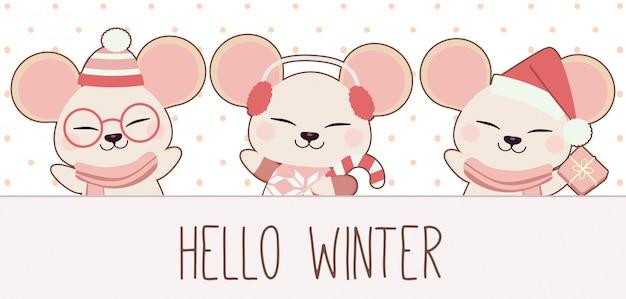Postać Słodkiej Myszy Przywitaj Się Z Zimowym Motywem Zimowym. Premium Wektorów