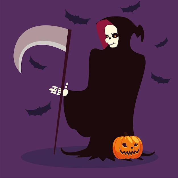 Postać śmierci Na Wesołe Halloween Premium Wektorów