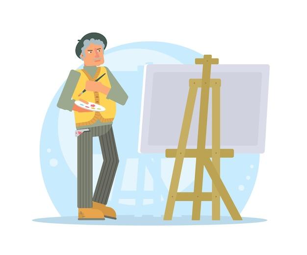 Postać Starszego Artysty Premium Wektorów