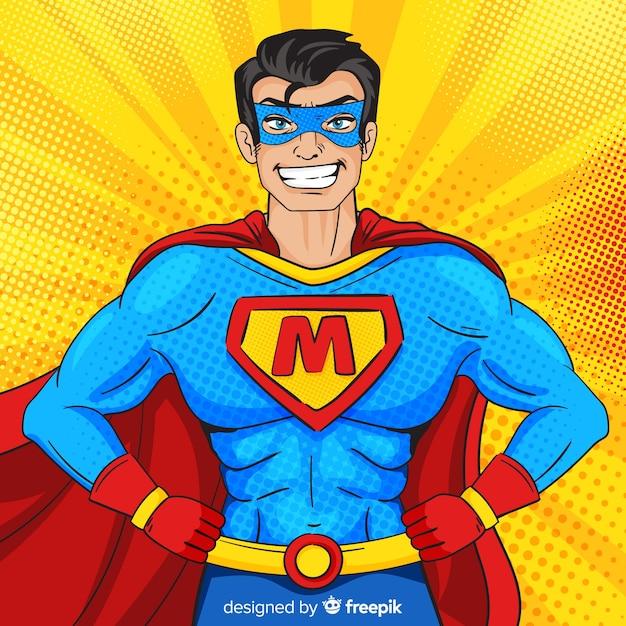Postać superbohatera w stylu pop-art Darmowych Wektorów