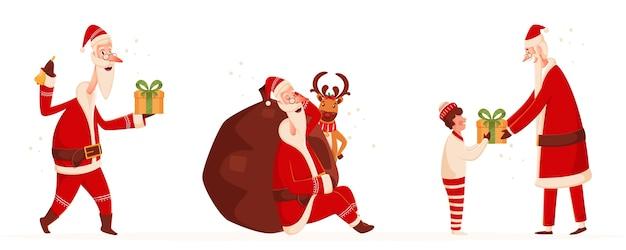 Postać świętego Mikołaja W Różnych Pozach Z Ciężkim Workiem, Reniferem I Chłopcem Na Białym Tle. Premium Wektorów