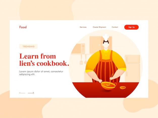 Postać szefa kuchni trzymająca naczynia kuchenne (kadai) z kadzią w widoku kuchennym, aby uzyskać informacje ze strony docelowej książki kucharskiej zastawu. Premium Wektorów