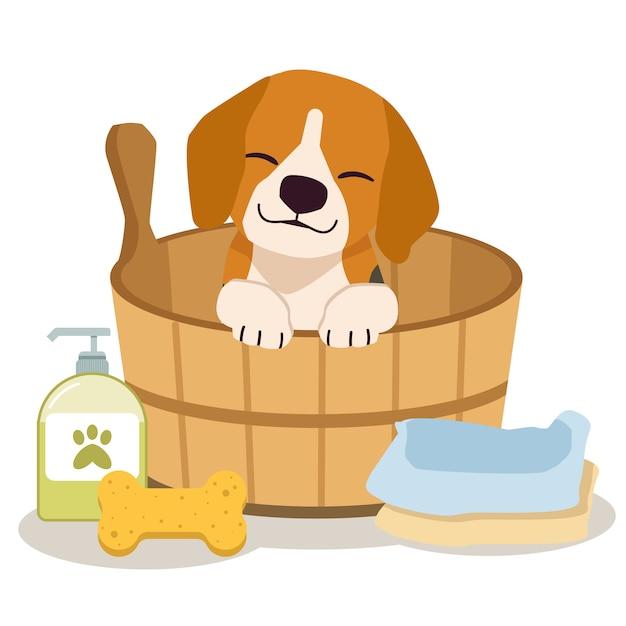 Postać Uroczego Beagle Siedzącego W Beczce Z Gąbką, Szamponem, Mydłem I Ręcznikiem W Stylu Płaskiej. Premium Wektorów