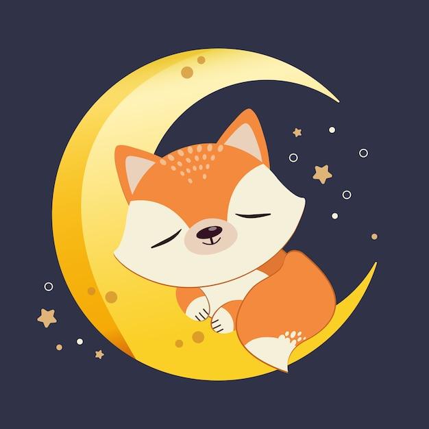 Postać uroczego lisa śpiącego na półksiężycu z gwiazdą. słodki lis relaksujący się na księżycu. postać uroczego lisa w stylu płaski wektor. Premium Wektorów