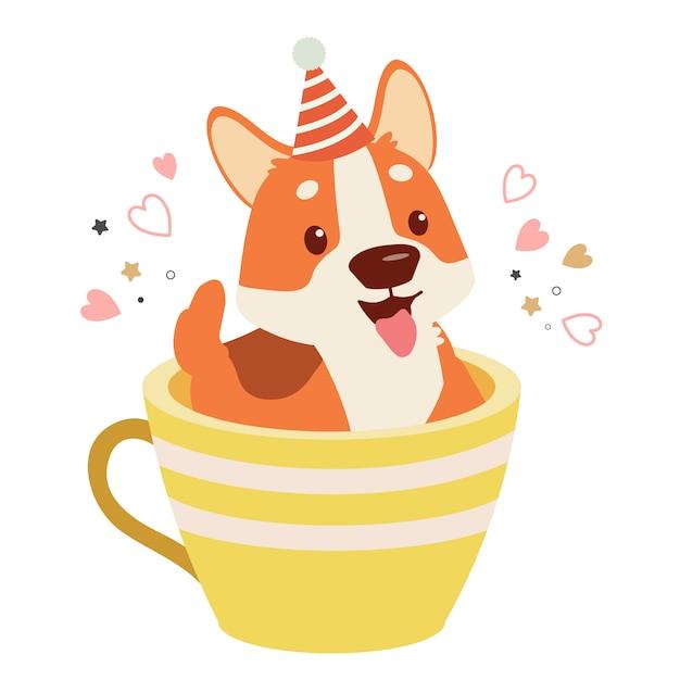 Postać uroczego psa corgi siedzącego w dużym kubku z sercem i kropkami. postać uroczego psa corgi w dużej filiżance kawy. postać cute corgi psa w stylu płaski wektor. Premium Wektorów