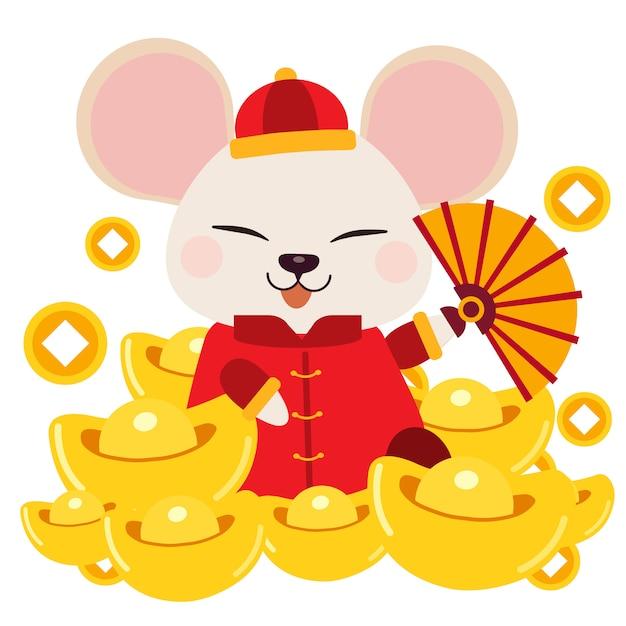 Postać Uroczej Myszy Siedzącej Na Stosie Chińskiego Złota. Premium Wektorów