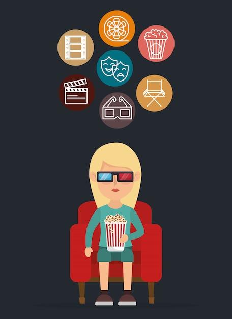 Postać w kinie jedząca popcorn Darmowych Wektorów