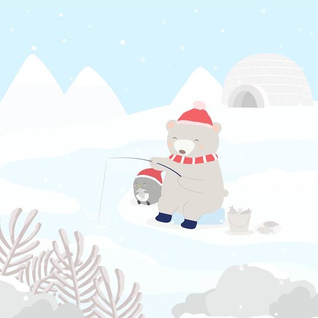 Postać Wektorowa Z Pingwinem I Niedźwiedziem, łowienie Ryb Na śniegu Darmowych Wektorów