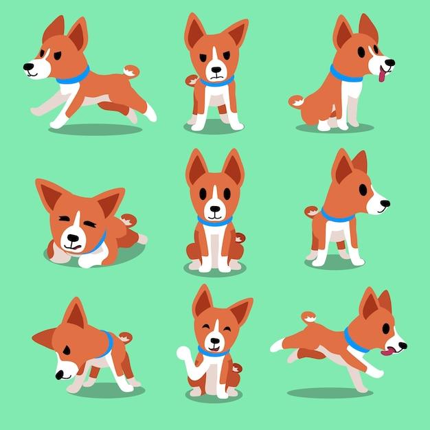 Postać Z Kreskówki Basenji Pies Pozuje Premium Wektorów