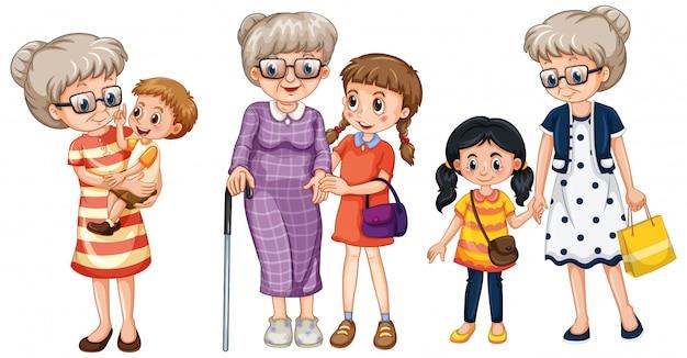 Postać Z Kreskówki Członka Rodziny W Kilku Pozycjach Darmowych Wektorów