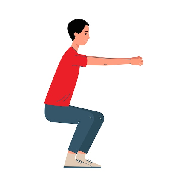 Postać Z Kreskówki Człowiek Robi Przysiady ćwiczenia Sportowe, Ilustracja Na Białym Tle. Męskie Pojęcie Aktywności Sportowej, Treningu I Fitness. Premium Wektorów
