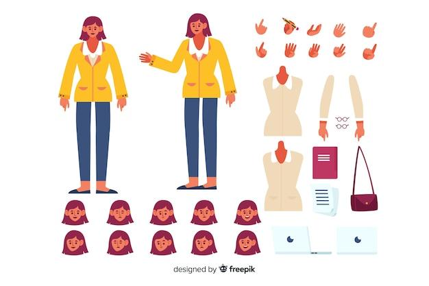 Postać z kreskówki do projektowania ruchu Darmowych Wektorów