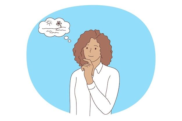 Postać Z Kreskówki Kobieta W Białej Koszuli Stojącej I Marzy O Podróży Premium Wektorów