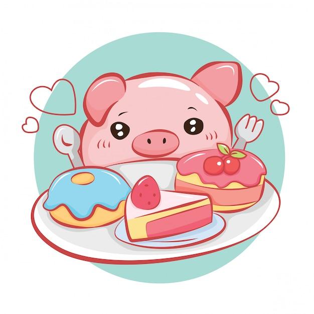 Postać z kreskówki ładny świnia. Premium Wektorów