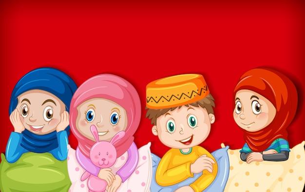 Postać Z Kreskówki Muzułmańskich Dzieci Darmowych Wektorów