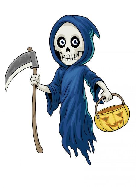 Postać Z Kreskówki Ponurej żniwiarki Trzymać Dyni Halloween Premium Wektorów