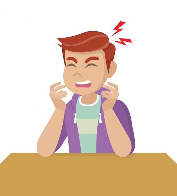 Postać Z Kreskówki Pozuje, Człowiek Z Bólem Głowy, Chorobą Głowy, Trzyma Głowę. Migreny, Problemy Zdrowotne, Ból Głowy, Praca Ze Stresem, Zmęczony, Cierpi, Emocje, Ból Głowy, Sfrustrowany. Premium Wektorów