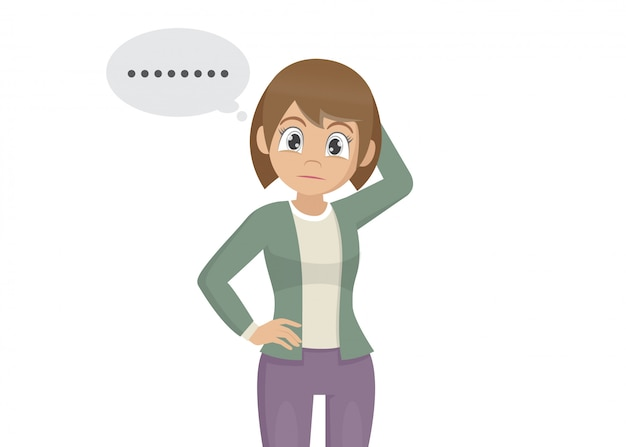 Postać z kreskówki pozy, młoda kobieta drapie głowę zamyślony gest i zapominalski wyraz twarzy. Premium Wektorów