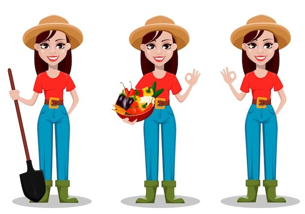 Postać z kreskówki rolnik kobiece Premium Wektorów