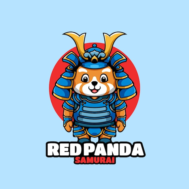 Postać Z Kreskówki Samuraj Czerwona Panda Premium Wektorów