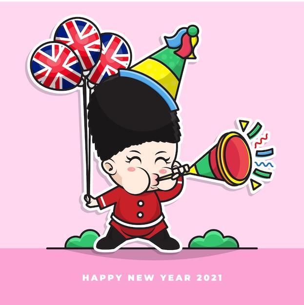 Postać Z Kreskówki ślicznego Brytyjskiego Dziecka Dmucha W Noworoczną Trąbkę I Niesie Balon Z Flagą Narodową Premium Wektorów