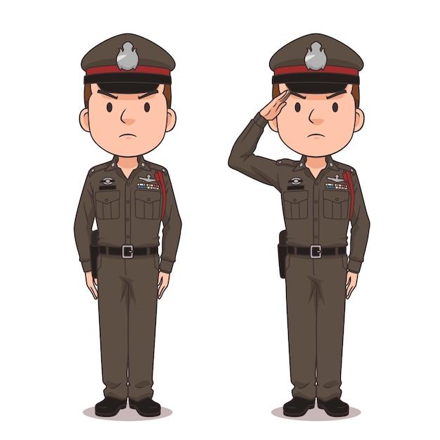 Postać Z Kreskówki Tajskiej Policji. Premium Wektorów