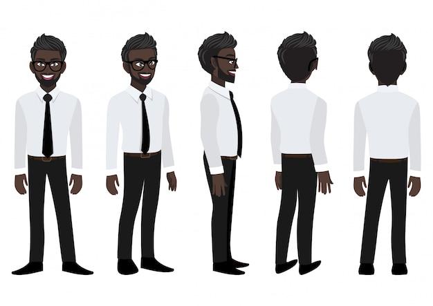 Postać Z Kreskówki Z Amerykańsko-afrykańskim Biznesmenem W Eleganckiej Koszuli Do Animacji. Premium Wektorów