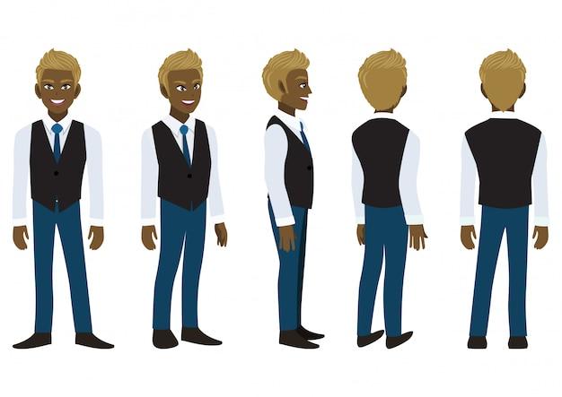 Postać Z Kreskówki Z Amerykańsko-afrykańskim Biznesmenem W Eleganckiej Koszuli I Kamizelce Do Animacji. Premium Wektorów