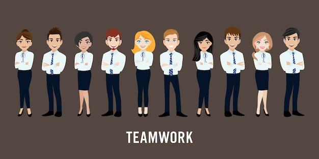 Postać z kreskówki z działalności człowieka i kobieta biznesu Premium Wektorów