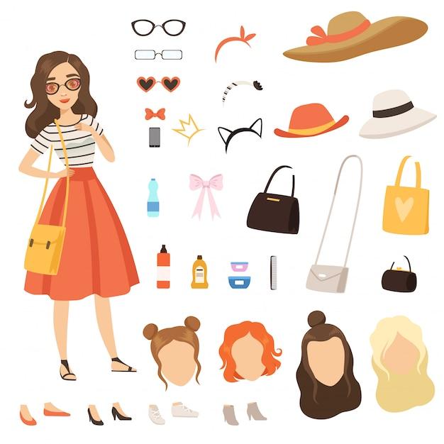 Postać z kreskówki z różnych modnych akcesoriów i ubrań Premium Wektorów
