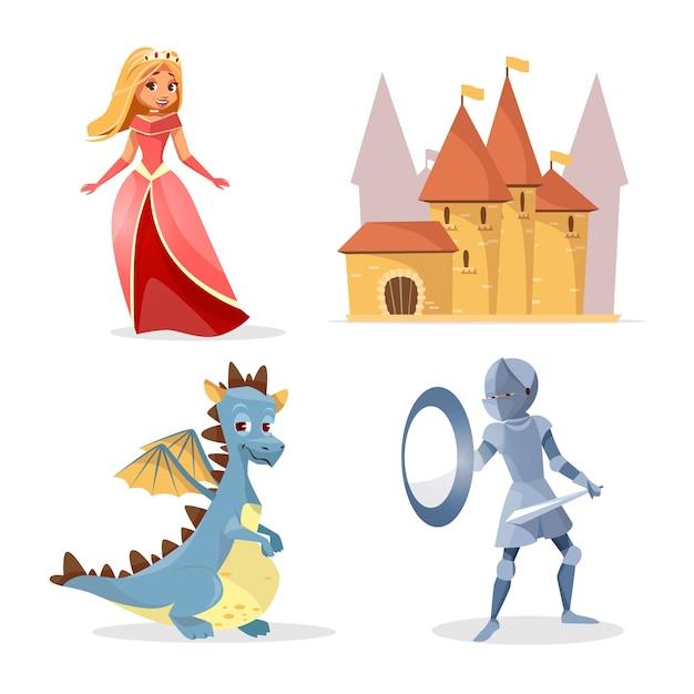 Postaci z kreskówek średniowiecznej bajki, zestaw zamek stwory. Darmowych Wektorów