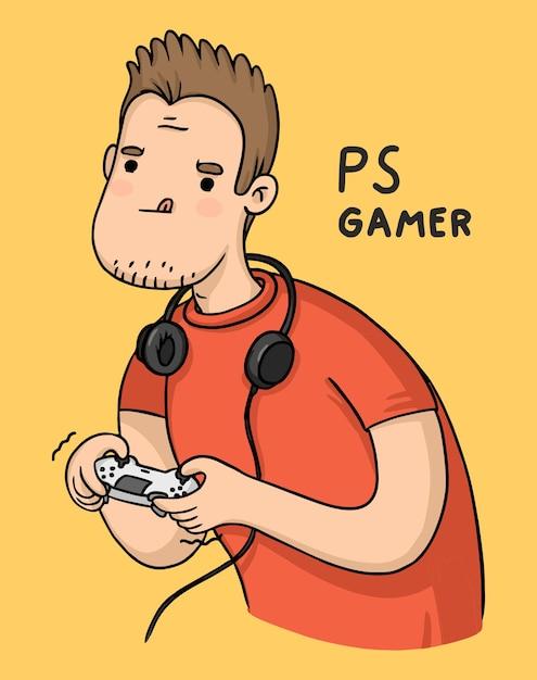 Postaci Z Kreskówek Dla Graczy Playstation Z Joystickiem Premium Wektorów