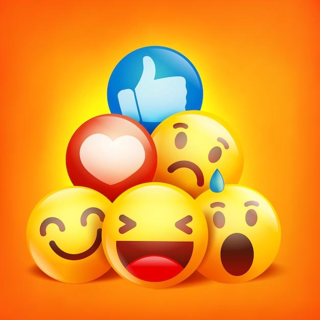 Postaci Z Kreskówek Emoji. Reakcje W Sieciach Społecznościowych Premium Wektorów