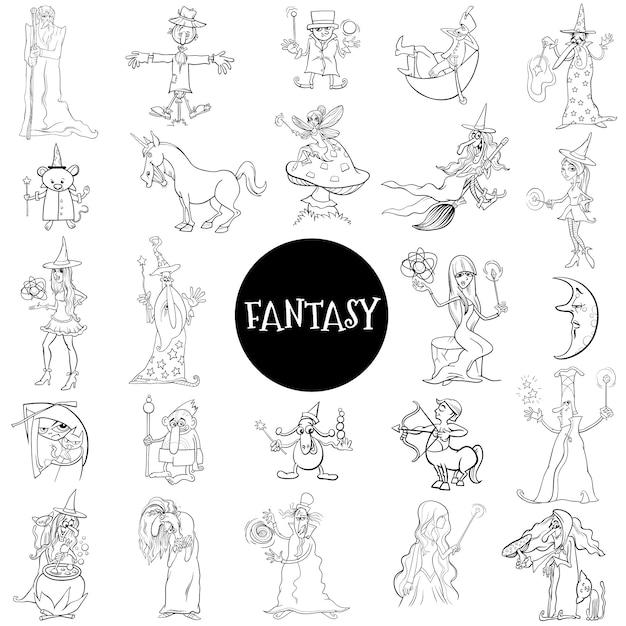 Postaci Z Kreskówek Fantasy Duży Zestaw Stron Książki Kolorów Premium Wektorów