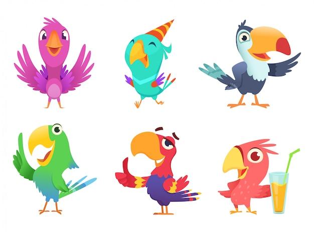 Postaci Z Kreskówek Papugi, śliczne Ptactwo Ptasie Z Kolorowymi Skrzydłami śmieszne Egzotyczne Papugi Różne Akcje Pozy Na Białym Tle Premium Wektorów