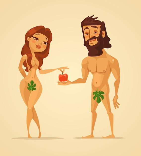 Postacie Adama I Ewy. Kobieta Oferuje Jabłko Mężczyźnie. Premium Wektorów