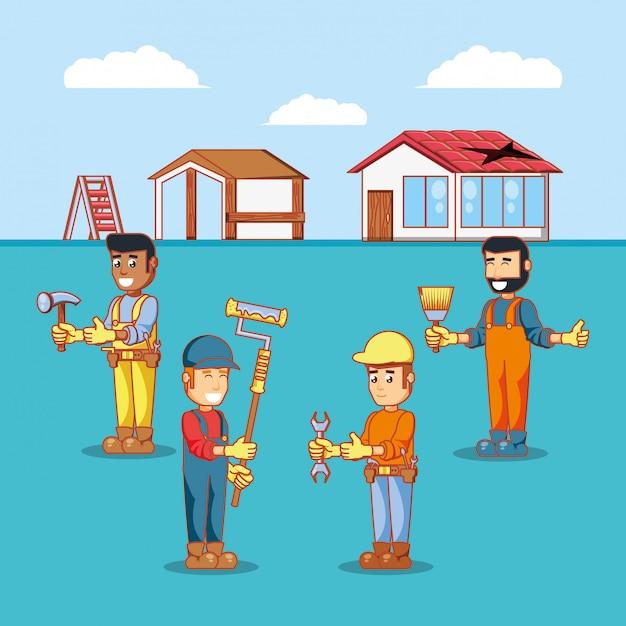 Postacie budowniczych z ikonami naprawy domu Premium Wektorów