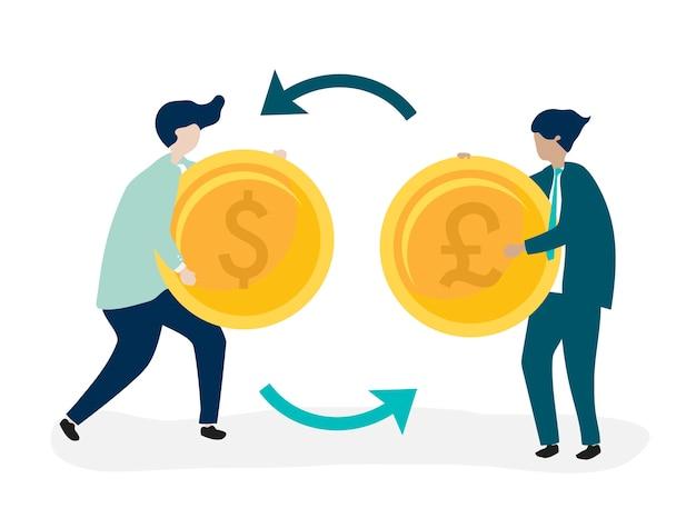 Postacie Dwóch Biznesmenów Wymieniających Walutę Darmowych Wektorów