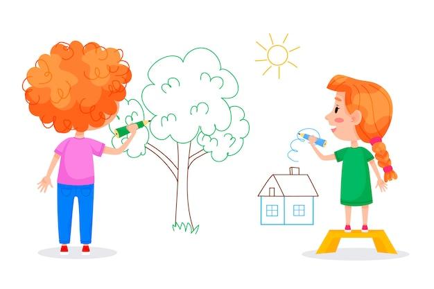 Postacie Dzieci Rysują Na Białych ścianach. Międzynarodowy Dzień Dziecka. Letnie Zajęcia Dla Dzieci. Ilustracje Wektorowe. Premium Wektorów