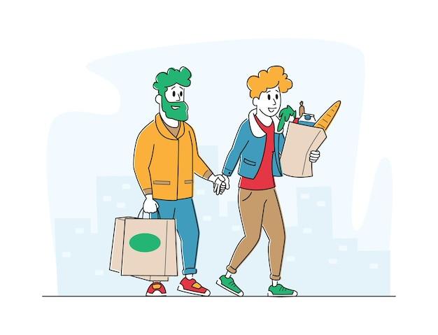 Postacie Klientów - Mężczyzny I Kobiety Z Torbami Na Zakupy Idące Ze Sklepu Kupującego Towary Premium Wektorów