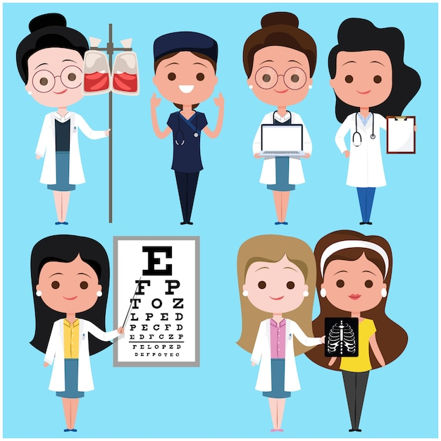 Postacie Kobiece Lekarz I Pacjent Premium Wektorów
