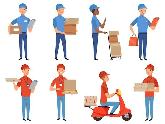 Postacie kurierskie pizza, fast food dostarczają pracę w różnych akcjach, które stanowią maskotkę w stylu kreskówkowym Premium Wektorów