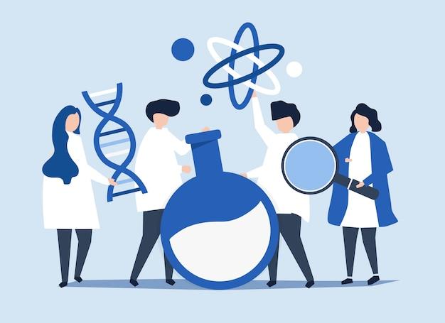 Postacie naukowców posiadających ikony chemii Darmowych Wektorów