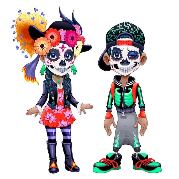 Postacie obchodzące meksykańskie halloween o nazwie los dias de los muertos Premium Wektorów