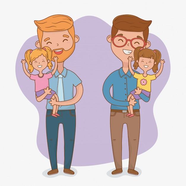Postacie ojców i córek Premium Wektorów