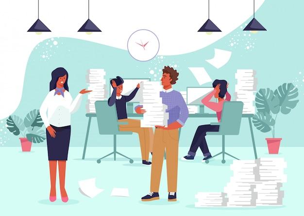 Postacie Osób Zajętych I Przepracowanie W Biurze. Premium Wektorów