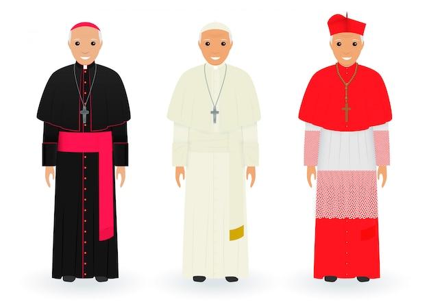 Postacie Papieża, Kardynała I Biskupa W Charakterystycznych Ubraniach Stojących Razem. Najwyżsi Kapłani Katoliccy W Sutannach. Premium Wektorów