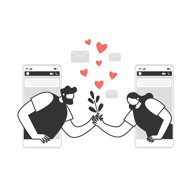 Postacie Wymieniają Miłosne Wiadomości Na Telefonie, Na Czacie. Para Zakochanych Postaci Z Kreskówek Ludzi. Walentynki. Koncepcja Miłości I Romansu. Premium Wektorów