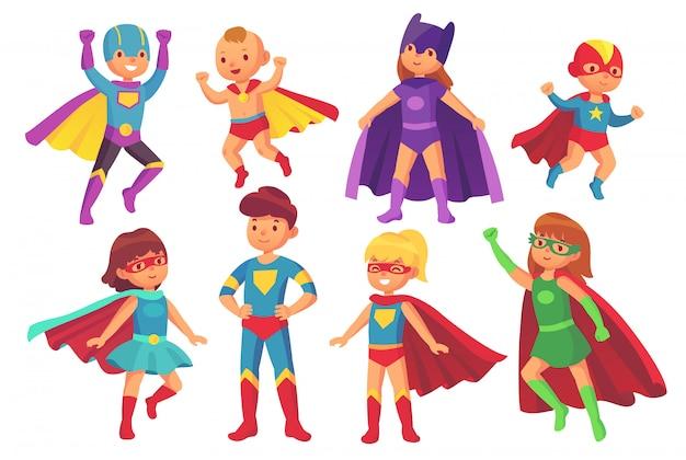 Postacie z kreskówek superbohatera Premium Wektorów