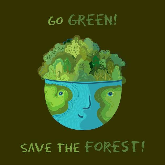 Postaw Na Ekologię, Ocal Lasy! ładny Ekologiczny Ilustracji Wektorowych. Premium Wektorów